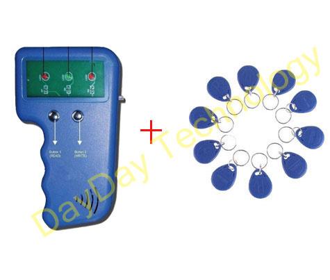 Handheld 125Khz RFID Copier ID card clone ID Card Copy + 10pcs EM4305/T5577 Rfid Tag Free shipping