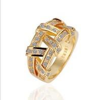 Free Shipping  18KGP  Weave 18K Gold Plated Ring  K Golden Plating Platinum Rhinestone Austrian Crystal SWA Element R063