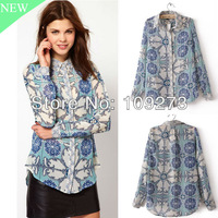 2013 fashion women's Spring Summer Retro china flower chiffon shirt silk tops lady's slim fit Chiffon blouses