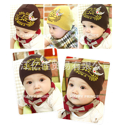 free shipping 2013 spring and summer child cap baby knitted pullover tire cap bicycle pattern three-dimensional wings(China (Mainland))