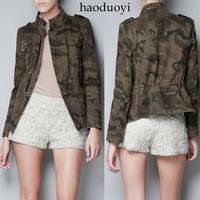 Pocket diamond decoration short design zipper Camouflage jacket stand collar outerwear military back slim waist 6 full