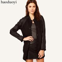 Woolen patchwork PU Women sports style sweatshirt baseball shirt medium-long outerwear female full Free Shipping