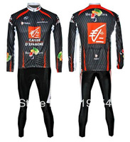 FREE SHIPPING 2008 Caisse d'Epargne cycling long sleeve jersey and pants set