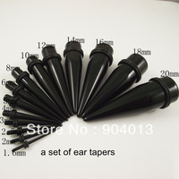 280pcs/lot mix size Acrylic Ear Piercing Tapers Kit Ear Expander  Black  Flesh Tunnel Free Shipping