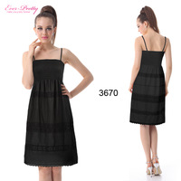 HE03670BK Black Spaghetti Straps Elastic Cotton Short Casual Dress