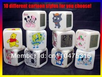10pcs/lot Retail Box 10 different cartoon styles can be mixed LED Change 7 Color Colorful Digital Alarm Clock Free Shipping