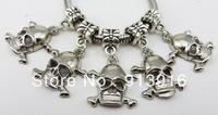 Hot 50pc Wholesale fashion handmade dangle charms DIY Skull Heads beads pendant fit European bracelet Bangle necklace jewelry