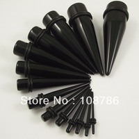 140pcs/lot Wholesale mix 14 sizes 1.6mm-20mm Black Acrylic Ear Piercing Tapers Ear Expander Flesh Tunnel Wholesale Free Shipping
