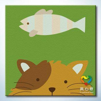 Colored drawing diy digital oil painting - cat 20 belt in frame