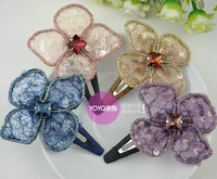 Yarn hair accessory all-match fashion flower side-knotted clip bb clip hairpin accessories hair accessory