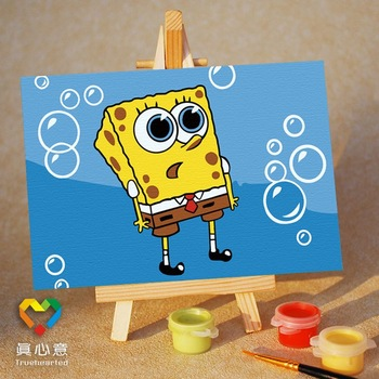 Diy digital oil painting cartoon oil painting mini painting colored drawing - dream 10 15 belt easel