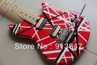 Free Shipping New style china evhwolfgang Red white lines Electric guitar 130309