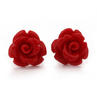 Multicolor coral stone rose stud earring 925 pure silver stud earring Women qau silver jewelry