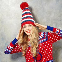 ELF SACK small winter color small hair ball plush hat