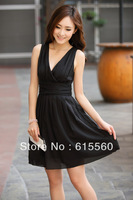 Free shipping the new spring/summer outfit 2013 deep v-neck sexy sleeveless chiffon dress