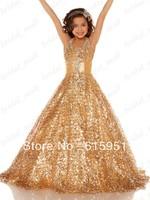 Sparkling Scoop Neckline Little Girl Pageant Dress Gold Shinning Sequin Sugar Pageant Dress JY296-1