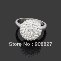 Min.order is $15 (mix order),Hot Sale Fashion New 10mm Silver Plated Alloy CZ Crystal Shamballa Finger Ring,Nickle Free