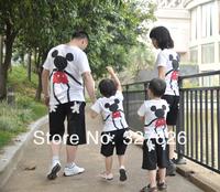 Free Shipping 3pcs/lot Mickey Minnie Family Baby Clothing summer family set clothes, short-sleeve T-shirt family fashion