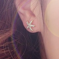 Min. order is $15 (mix order) Fashion korean style rhinestone starfish stud earrings
