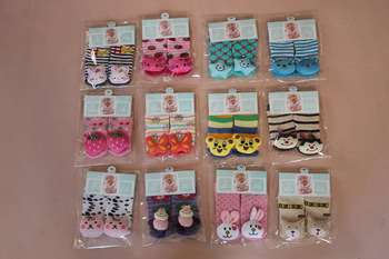 thick winter animal head baby socks/cotton stretch warm infant socks/baby floor socks mixed lot cheap wholesale free shipping