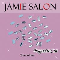 Crystal 3D Nail Art Decorations Baguette Cut Diamond & Gemstone Shape Design Size:2*4mm Baguette Cut