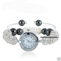 HOT BEST 1PC SHAMBALLA SILVER CRYSTAL DISCO BALL BLING BRACELET DIAMANTE SHAMBALA WATCH (Yz8901)