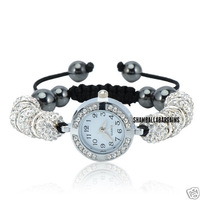HOT BEST 1PC SHAMBALLA WHITE CRYSTAL DISCO BALL BLING BRACELET DIAMANTE SHAMBALA WATCH FREE GIFT (Yz8890)