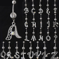 14G~1.6m~316L Surgical Stainless Steel Crystal Capital Letters A-Z Navel Belly Button Bar Ring Piercing Jewelry,Free Shipping