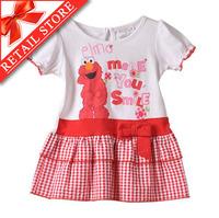 IN STOCK! Hot Sale Kids Cartoon Dress Girls O-neck Ruffle Sleeve Dress Bow Belt Gingham Hem Dress Free Shipping