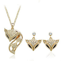 High Quality 18 K Rose Gold Plated Austrian Rhinestone My Fox Lady  Necklace and Earrings Jewerly Set