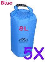 5pcs 8L  Waterproof Dry Bag Kayak Canoe Floating Camp Blue