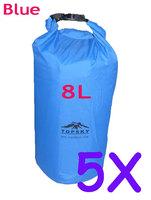 5pcs 8L  Waterproof Dry Bag Kayak Canoe Floating Camp Blue