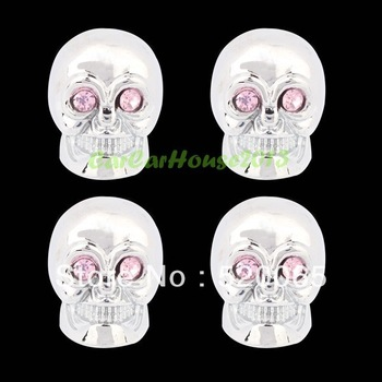 FREE SHIPPPING 4pcs/set Skull Style Bike Car Motors Motorcycle Tire Tyre Valve Dust Cap Cover