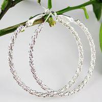 Silver Plated Basketball Wives Hoops Earrings Loops Earrings 50mm Hoops Earrings Free Shipping
