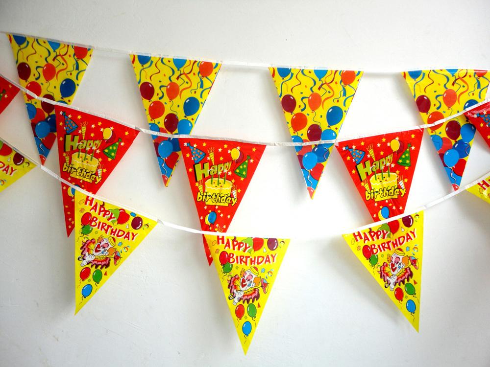 2 6 m feliz cumplea os banderas triangulares para el for Banderas decorativas para jardin