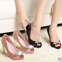 [Free Shipping] 2013 Fashion Peep Toe Sandals Sexy Platform High Heels rhinestone pumps Wedding Shoes EUR Size(35-39)