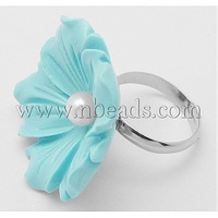 Closeout Synthetic Coral Flower Ring,  with Brass Findings and Pearl,  Turquoise,  about 30mm wide,  17mm in inner diameter