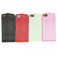 HK post free shipping Carbon Fiber Style PU Leather Folio Case for Apple iPhone 5 5th 5G Cell Phone Accessories + dust plug gift