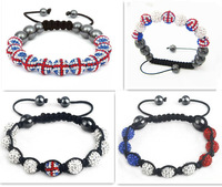 Min.order is $10 (mix order) Fashion Uk Flag Shamballa Bracelets Bangles Wholesale 2pcs/lot Crystal Bracelets