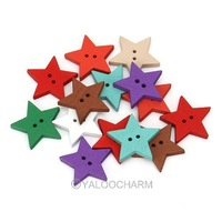 New Wholesale 200pcs Mixed Color Printed 2 Holes Star Wood Sewing Button Scrapbooking 111633 Free Shipping