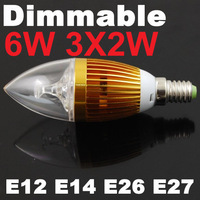 Good Dimmable E26 E14 6W LED Candle Lamp Candle Light Candle LED Bulbs 85V-265V Warm/Cool White