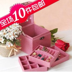2980 accessories storage box vintage deerskin velvet earring box wool cosmetic box fashion princess jewelry box(China (Mainland))