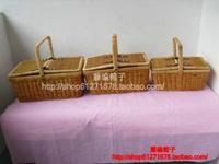 free shipping Picnic basket vintage suitcase wicker chest willow box makeup box rattan bag basket storage