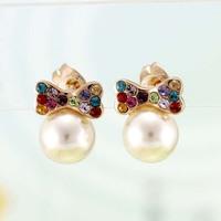 ITALINA multicolour bow stud earring pearl crystal mix match fashion female earring