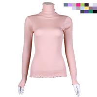 Silk knitted basic shirt silk seamless turtleneck long-sleeve sweater elastic thread