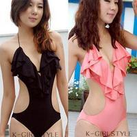 Fashion one piece triangle bikini female swimwear lotus leaf laciness sexy pink black swimwear free shipping