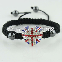 NEW HOT Wholesale silver plated Crystal Rhinestones Sideways UNION JACK  Connectors Adjustable Macrame Bracelets