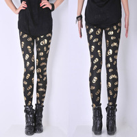 Free Shipping New Spring 2014 Skull Leggings Female Plus Size Fashion Skull Heads Patterns Leggings Women's Leggings MYB297