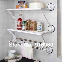 H239 Double-deck double rod bathroom kitchen shelves towel rack Washcloth Shelf kitchen racks FreeShipping ZF117