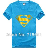 7 Colour M-4XL Promotions 2014 Fashion New Men's Bronzer Superman Logo T-Shirt Male Personality Short-Sleeve Cotton T-shirt